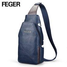 FEGER Gute Verkauf Männer Messenger Bags Beiläufiger PU Umhängetasche Brust Pack Tasche Feste Schlinge Tasche mit Kopfhörer Loch