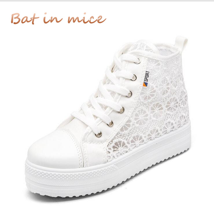 2018 Sweet Lace High Top canvas Flat shoes Women Summer Women Shoes Sexy Hollow Platform Ladies Shoes Casual Woman shoes C108 sweet women high quality bowtie pointed toe flock flat shoes women casual summer ladies slip on casual zapatos mujer bt123