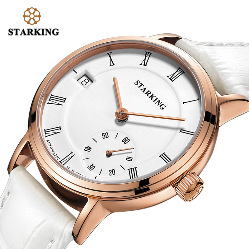 STARKING Mechanical Watch Women Sapphire Crystal Waterproof 5ATM Automatic Self-Wind Wristwatches with Auto Date Genuine Leather