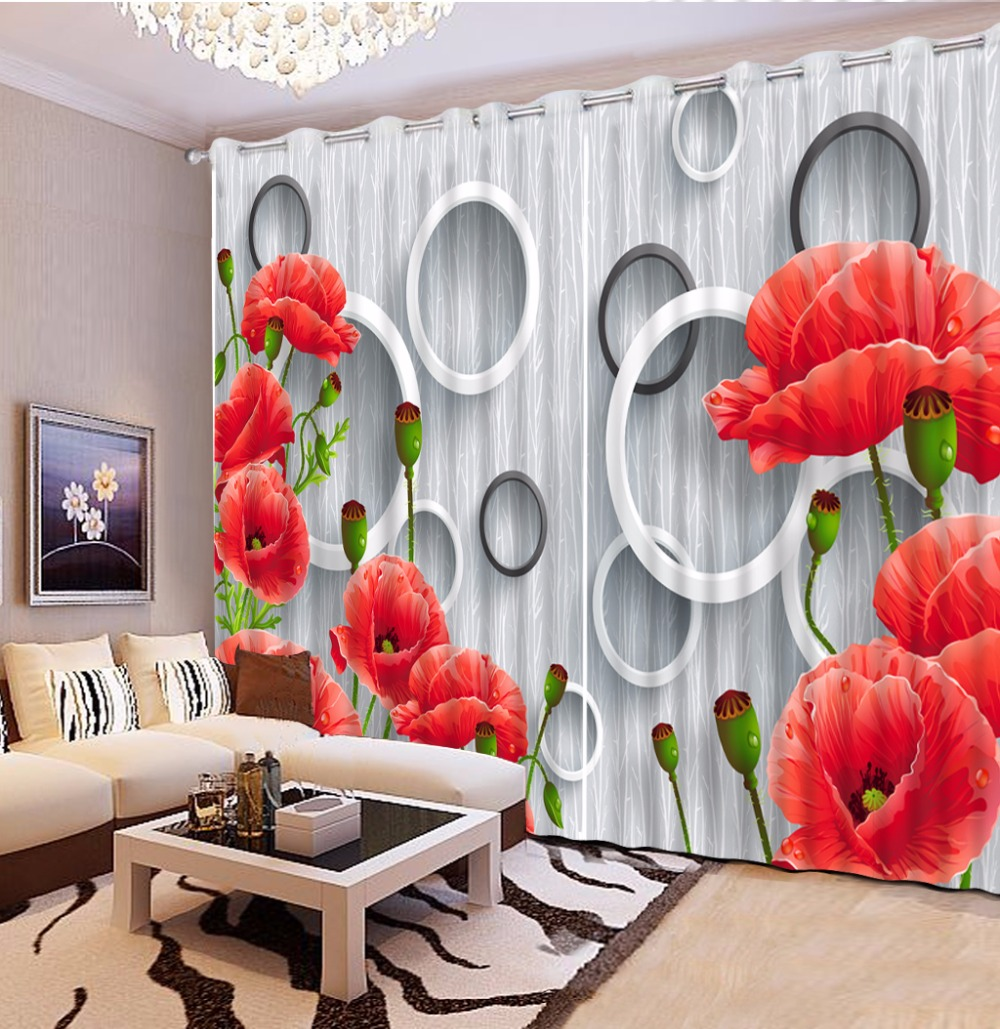 Modern Living Room Bedroom 3D Curtains Red Flower For Wedding Children Window Blackout Curtain In From Home Garden On