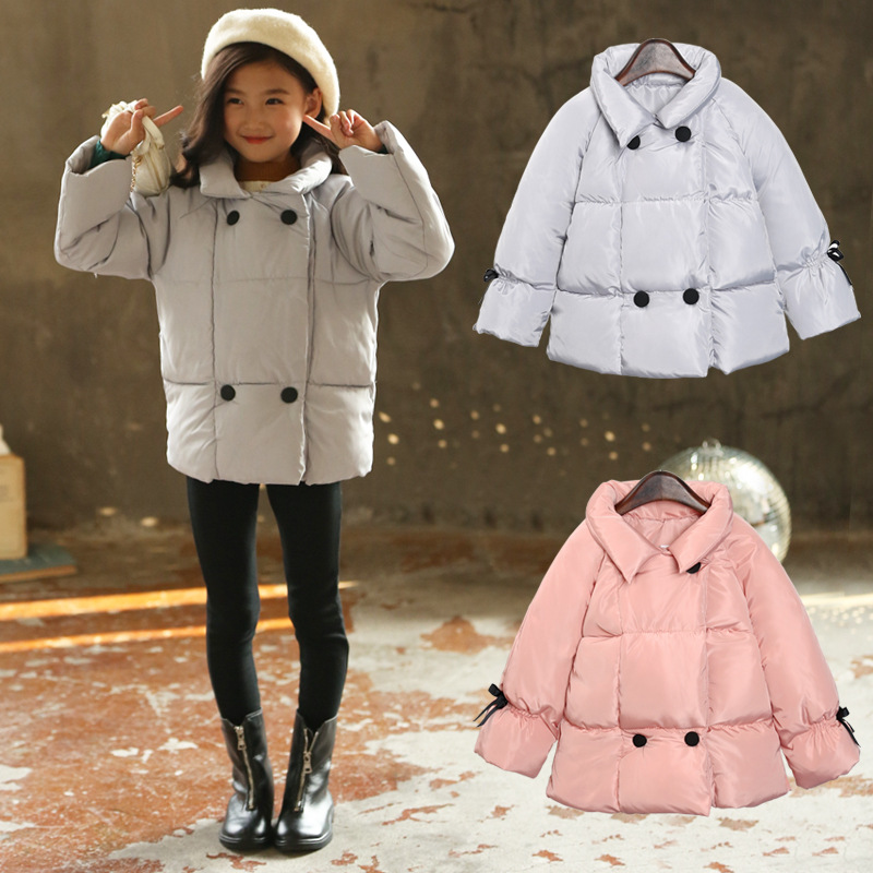 Baby Girls Down Parkas Kids Clothes 2018 Winter Full Sleeves Double-breasted Thick Girls Coats Outwear Children Clothing 3dp043 2017 fashion boy winter down jackets children coats warm baby cotton parkas kids outerwears for