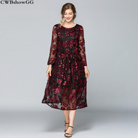 CWBshowGG Embroidered silk dress female summer round neck large size loose lace Jacquard fashion elegant floral midi dress