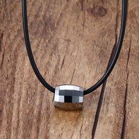 Mprainbow Fashion Chokers Necklaces For Men Women Tungsten Carbide Pendant Chain Rope Leather Cord Black Colar
