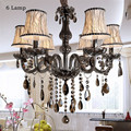 Luxury LED Crystal Chandeliers Light Fixtures Gray Lustres de cristal For Livingroom Bedroom Ceiling Hanglamp With Fabric Abajur