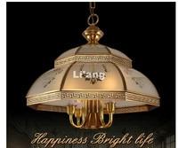 Modern European Brass Pendant Antique Brass Chandelier D54cm Vintage Copper Glass LED AC110V/220V 100% Guaranteed Free Shipping