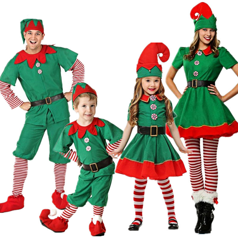 2018 Women Men Boy Girl Christmas Elf Costume Kids Adults Family Green Elf Cosplay Costumes Purim Carnival Party Supplies