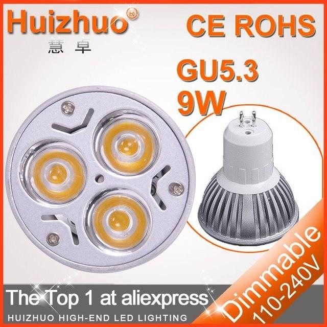 [Huizhuo Lighitng] Free shipping 20 pcs/lot High power 3x3W 220V GU5.3 led bulb, spotlight bulb
