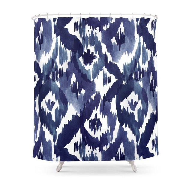 Indigo Blue Ikat Shower Curtain Set Waterproof Polyester Fabric Bath For Bathroom With Non