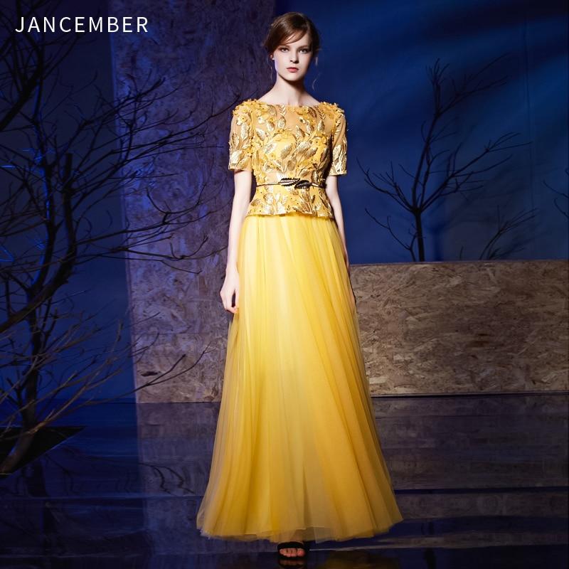 JANCEMBER Gold Dubai Cocktail Gown Illusion Half Sleeve O Neck  Shining 3D Lace Applique Crystal Cocktail Dress Women Elegant