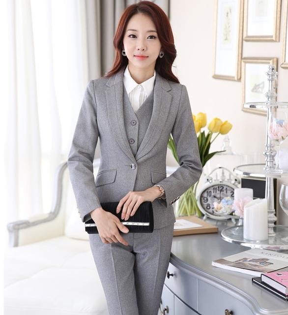 Profissional Formal , estilo uniforme Pantsuits Ladies escritório de negócios mulheres ternos com casacos + calça + colete calças define