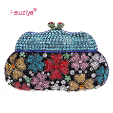 Fawziya Bags For Women Kisslock Purses MIni Size Rhinestone Clutch Flower Evening Bag