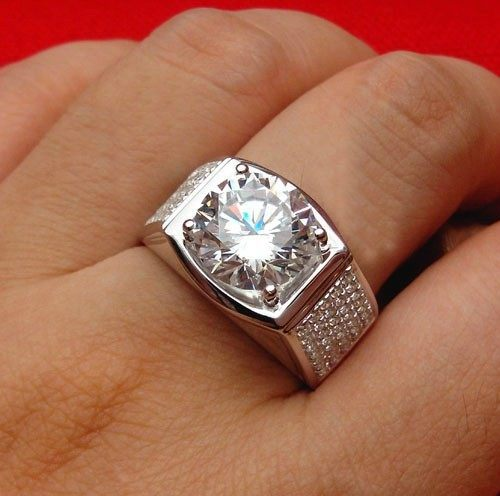 line Shop Amazing Big Diamond Ring Man 5Ct Moissanite Diamond