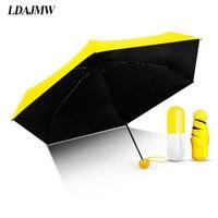LDAJMW Cápsula Mini Bolso Guarda-chuva Super Leve Pequeno Dobrável Sol/Chuva Guarda-chuva Luz Do Sol para As Mulheres Menina Presente Free Shopping