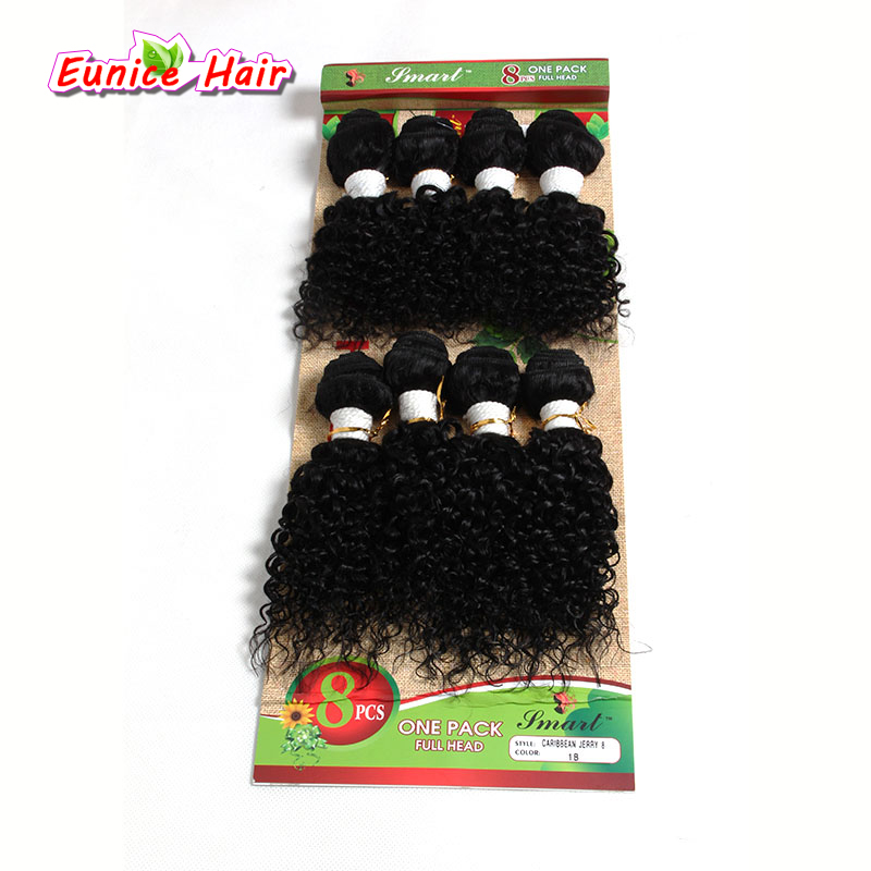Eunice Kinky Curly 8-14inch Ombre #1B/30 #1B/Bug Loose Wave Weave Synthetic Sew in hair Extensions for black women 8pcs/pack