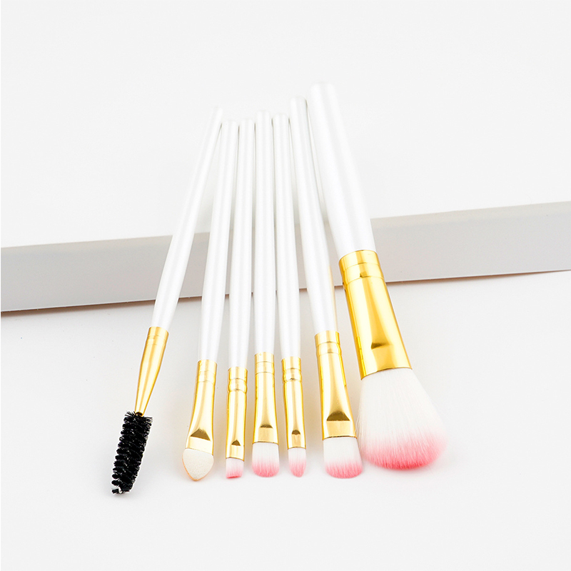 GUJHUI 7 Pcs Silver Blue Red Foundation Makeup Brushes Set Face Brush Cosmetics Beauty Essentials Kit Makeup Tools & Accessories 5