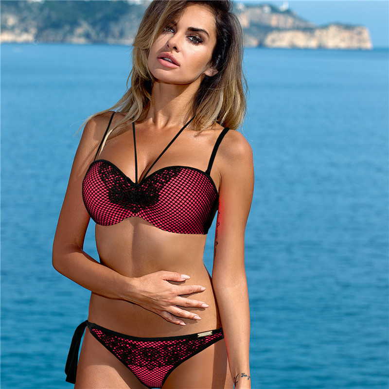 2018 Sexy Bandeau Bikinis Women Swimsuit High Waisted Bathing Suits Swim Halter Push Up Bikini Set Plus Size Swimwear