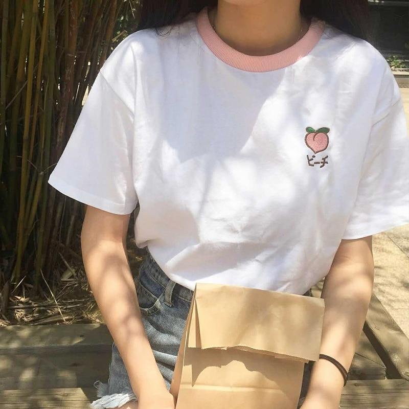 2017 sommer Obst Bestickte College Wind Patchwork Lose Baumwolle Kurzarm Weibliche T-shirts