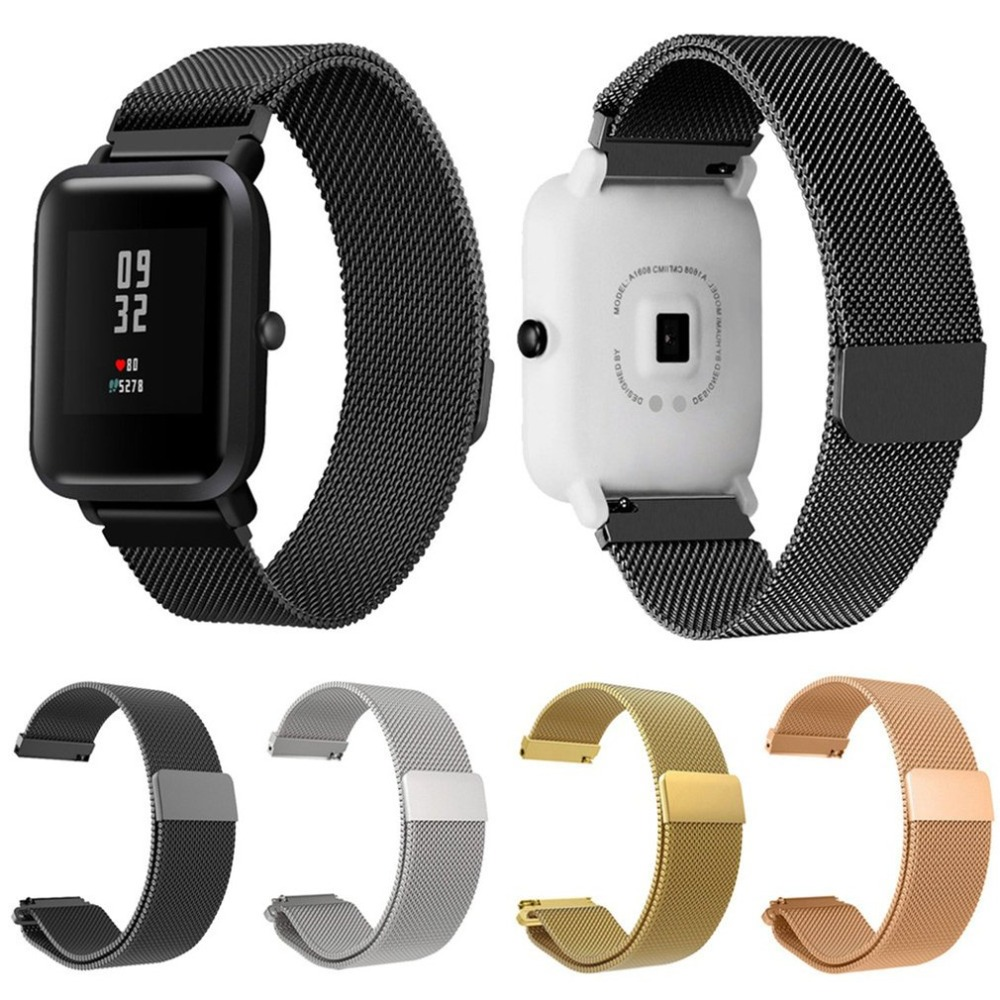 Stainless Steel Mesh Bracelet Smart Watch Band Magnetic Watch Strap Replacement For Xiaomi Mi Amazfit Bip Youth Hot Sell