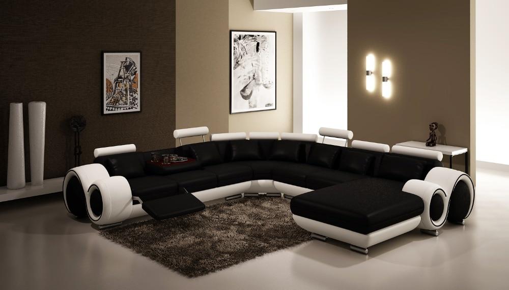 Modern living room large corner sofa U shaped sectional leather