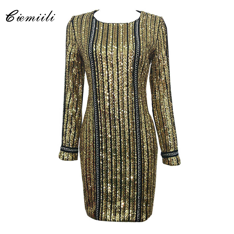 CIEMIILI Noble Gold Sequined Women O Neck Dress Party Cocktail Celebrity Elegant Full Sleeves Bodycon 2017 Vestidos Wholesale