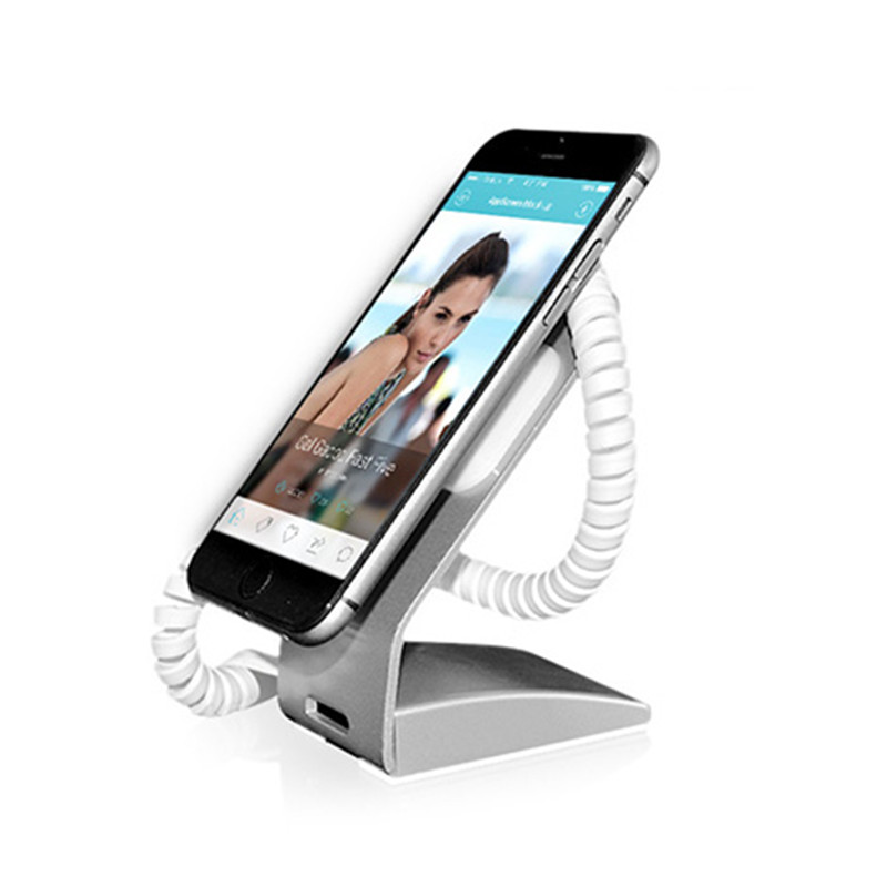 silver color magnetic metal mobile phone exhibition retail shop anti theft alarm display holder stand 10pcs lot anti lost mobile phone anti theft holder smart phone retail stand secure holder alarm adjustable clamp