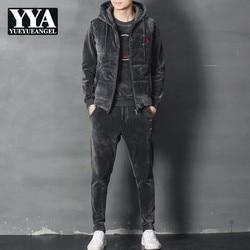 Fashion Mens Winter Joggers Trainingspak Dikke Warme 3 stuks Suits Vest Jas Conjunto Masculino Plus Size Fleece Trainingspak casual Set