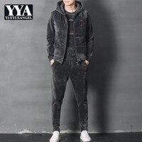 Fashion Mens Winter Joggers Track Suit Thick Warm 3pcs Suits Vest Coat Conjunto Masculino Plus Size Fleece Track Suit Casual Set