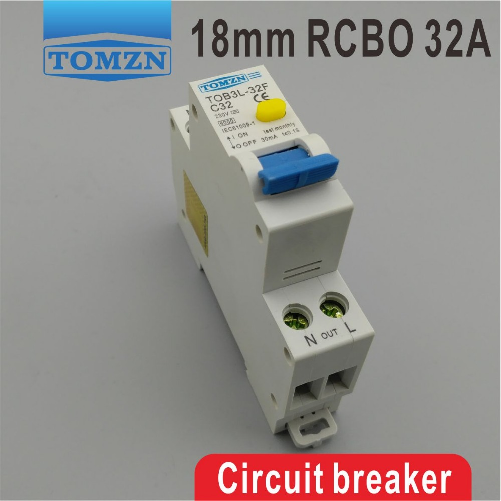 TOB3L-32F 18MM RCBO 32A 1P+N 6KA Residual current Circuit breaker with over current and Leakage protection 18mm rcbo 32a 1p n residual current circuit breaker with over current and leakage protection 30ma