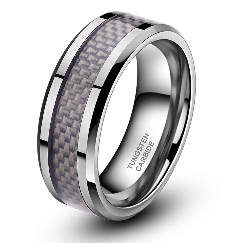 8mm Mens  Womens Tungsten Carbide Ring Wedding Band