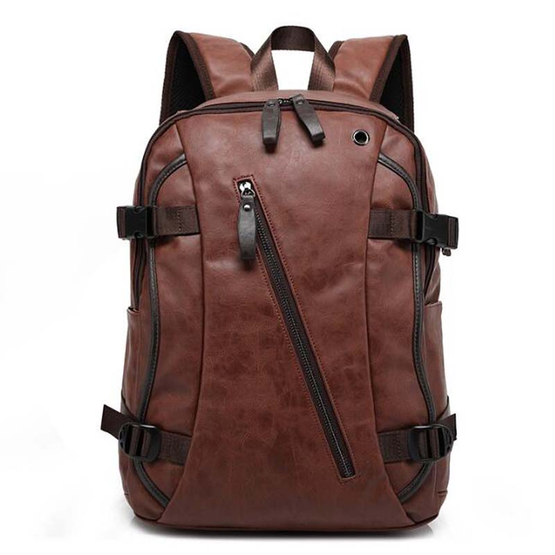 Fashion Men Backpack Brown PU Leather 16 Inch Travel Bag Man Large Capacity Teenager Student Male Mochila Laptop Backpacks