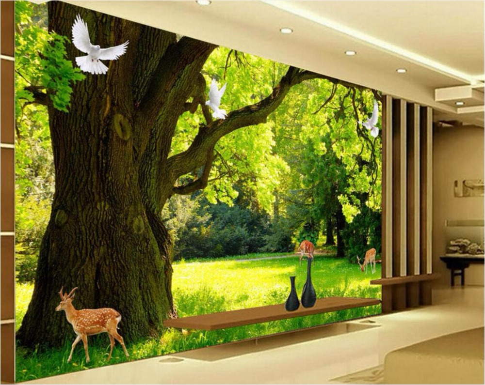 Custom Mural Photo 3d Room Wallpaper Scenic Forest Animal