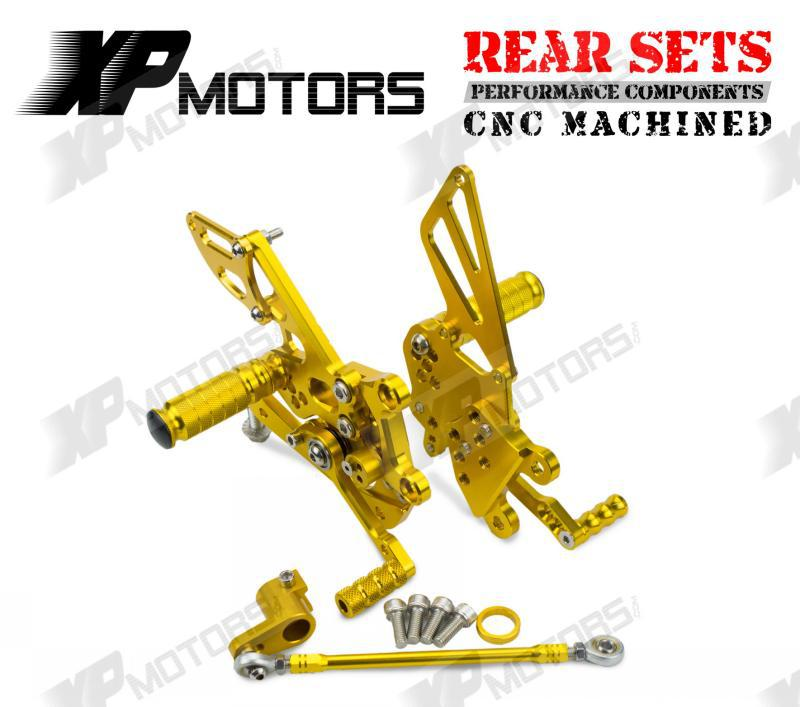 CNC Rearset Adjustable Foot pegs Rear Sets Fit For Aprilia Tuono1000 V4 R APRC 2011 2012 2013 2014 Gold