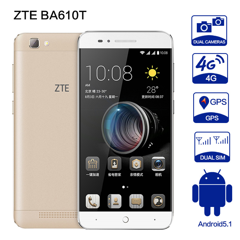 ZTE BA610T MTK6735P Quad Core Android 5.1 2GB RAM 8GB ROM 4000mAh Dual SIM 8MP Camera OTG mobile phone smartphone