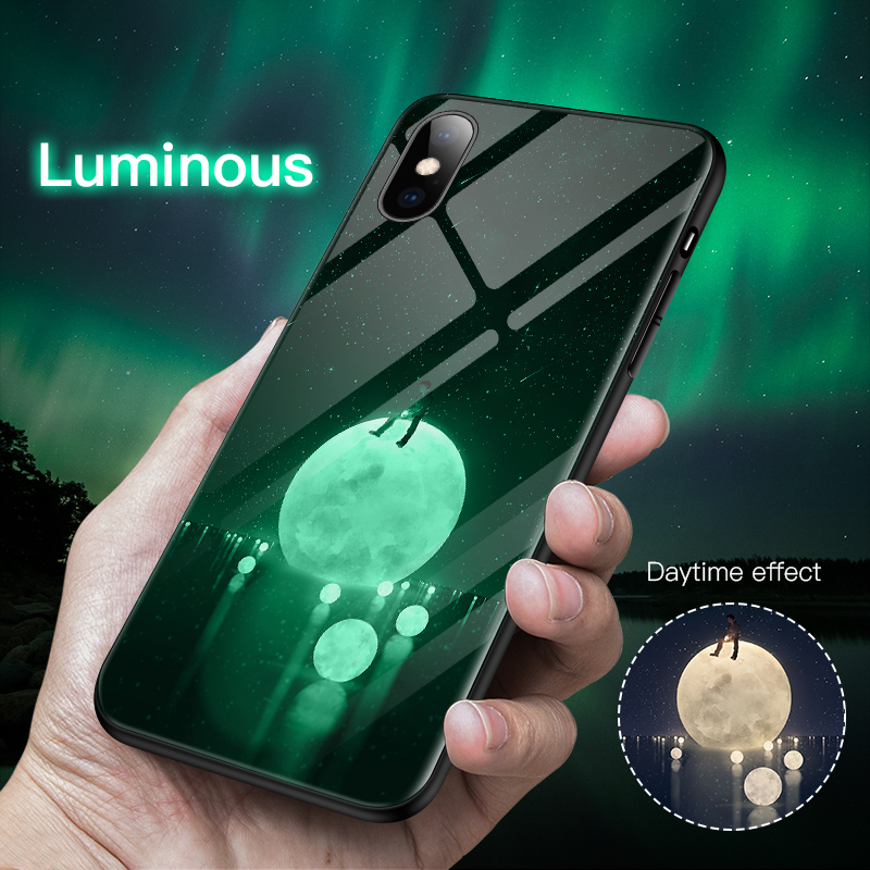 Luxury <font><b>Luminous</b></font> Tempered Glass Phone <font><b>Case</b></font> For <font><b>iPhone</b></font> <font><b>6</b></font> 6s 7 8 Plus Night Glow Phone <font><b>Case</b></font> For <font><b>iPhone</b></font> X XR XS Max Back Cover Coque image