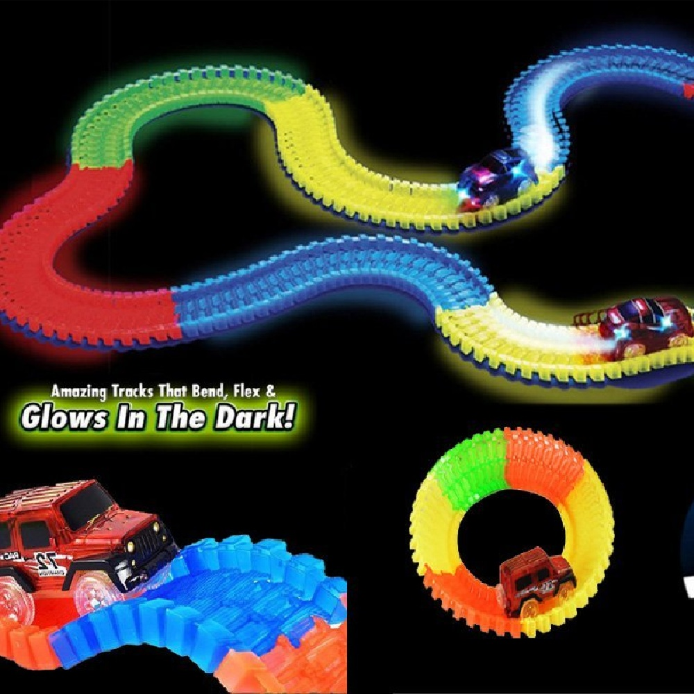 Race Magic Racing Track Set Toys Roller Coaster DIY Flex Race Track Flexible Track Play set Railway Rail Cars For Kids Gifts ...