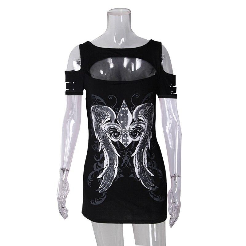Summer Punk Fashion Women T-shirts Short Sleeve Hollow Out Tops Print Wings Tops Tee Hole Roupa Mujer Harajuku T-shirts WS7794M