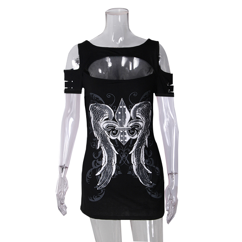 Summer Punk Fashion Women T-shirts Short Sleeve Hollow Out Tops Print Wings Tops Tee Hole Roupa Mujer Harajuku T-shirts WS7794M