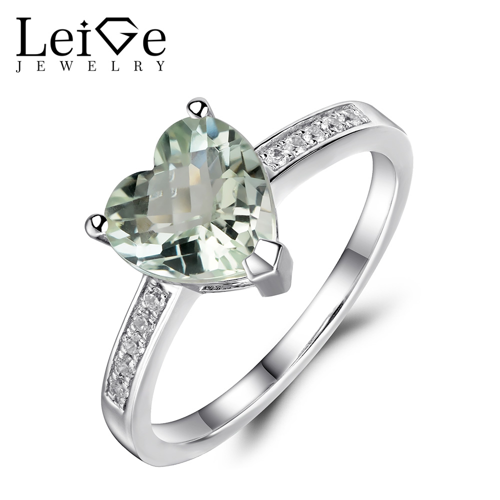 Leige Jewelry Natural Heart Cut Green Amethyst Ring 925 Sterling Silver Engagement Promise Rings for Women Anniversary GiftLeige Jewelry Natural Heart Cut Green Amethyst Ring 925 Sterling Silver Engagement Promise Rings for Women Anniversary Gift