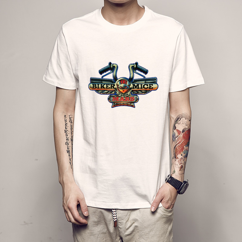 Funny Casual Short Sleeve Tshirts Biker Tshirt Custom Engine Motorcycle Biker Mice From Mars Logo Mans Unisex Shirt Mens T-shirt