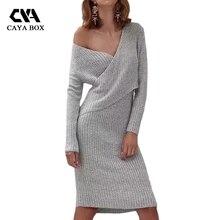 Caya коробка зимние платья женщин 2017 rossed с длинным рукавом черный вязаный свитер платье Женская одежда высокого качества