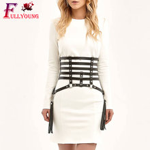 Fullyoung Handmade Sexy Harness Caged Weave Round With Tassels Leather Body Bondage Skirts Chain Dress  Punk Band Garter