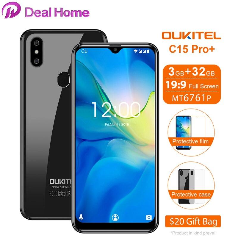 Oukitel C15 Pro + 6.088 ''Tela Waterdrop 3GB GB MT6761 32 4G Smartphone C15 pro + 19:9 android 9.0 5G WiFi Fingerprint ID Rosto