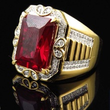 Gorgeous Male Big Red Stone Ring Fashion Filled Vintage Wedding Engagement Rings For Men