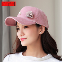 PTAH Spring Baseball Cap Women High Quality Brand Hip Hop Caps Suede Hats For Ladies Solid