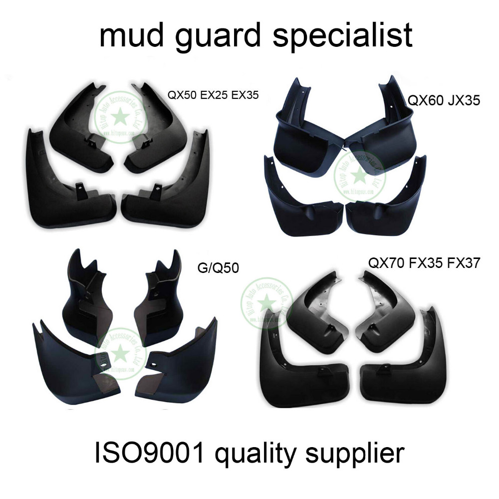 for INFINITI QX50 EX25 EX35 JX35 QX60 FX37 QX QX70 Q50 Q70L mud guard flaps/splash/fender,ISO9001 quality,excellent material PP free shipping 2013 2014 infiniti jx35 qx60 high quality soft plastic mud flaps splash guard