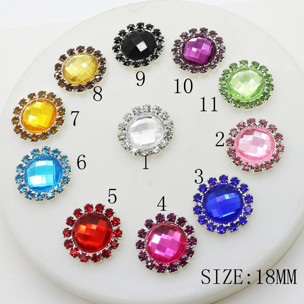 10pcs/lot 18MM Round Mix Color Artificial Crystal Metal Buttons Flatback Diamante Buttons for Shoes Wedding Bouquent Craft Decor image