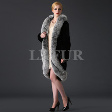 New Womens Real Rex Rabbit Fur Coat with Big Fox Fur Collar Overcoat Real Fur Trimming Winter Long Poncho Outwear LX00628