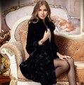 New2014 осень зима женское длинная дизайн лисий мех воротник мех кролика рекс пэчворк норка кашемир мех пальто пальто D2443