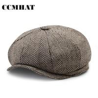 CCMHAT Fashion Octagonal Cap Newsboy Beret Hat Black Striped Herringbone Winter Driving Flat Cabbie Flat