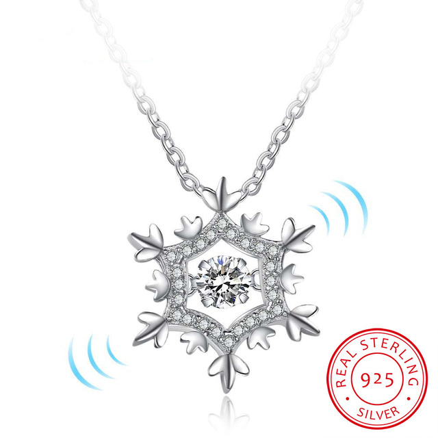 Snowflake necklace design 925 sterling silver dancing stone pendants snowflake necklace design 925 sterling silver dancing stone pendants necklaces birthday gift ideas party jewelry audiocablefo